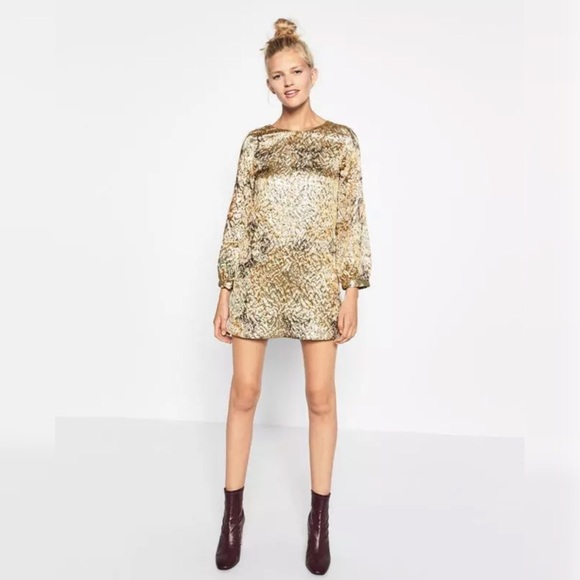 Zara Gold Lame Mod Style Mini Dress Medium 393b4362f